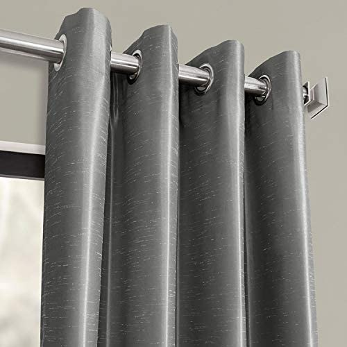 HPD Half Price Drapes PDCH-KBS7-108-GRBO Grommet Blackout Vintage Textured Faux Dupioni Silk Curtain 1 Panel