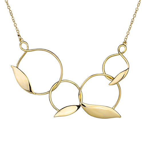 Charm Enhancer - RYTHUN Gold Leaves Charm Pendant Necklace Extender Chain Strong Metal Style Necklaces for Women Girls (Gold)
