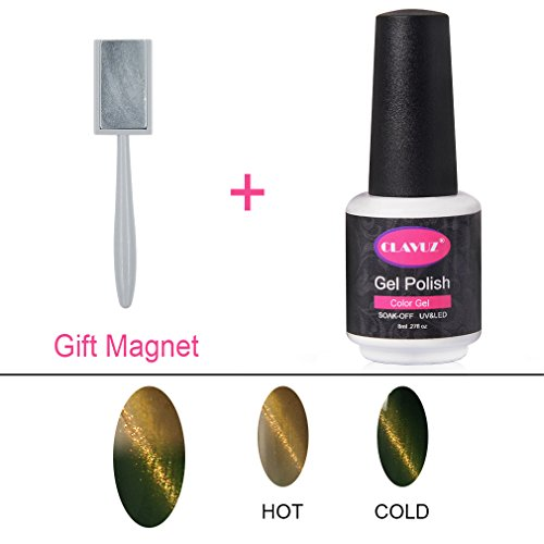 10d Thermal - CLAVUZ Magnetic Color Change Gel Nail Polish 3D Cat Eye Lacquers Soak Off UV LED Manicure Nail Art Kits Gift Sets Free Magic Stick