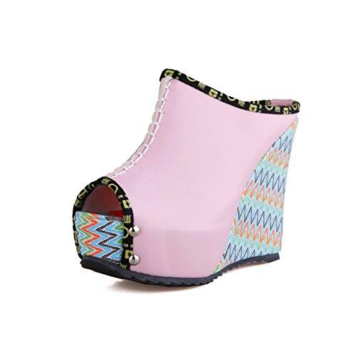 Zapatos de Mujer de Cuero sintético Spring Summer Wedge Heel Sandal Rivet Hebilla Split Joint Cremallera Zapatilla de Vestir Blanco Verde Rosa Beige Un