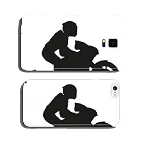 Biker rider lifts the front wheel. Vector silhouette cell phone cover case iPhone6