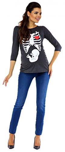 Zeta Ville - T-shirt Camiseta premamá estampado de esqueleto - para mujer - 615c Mezcla De Grises