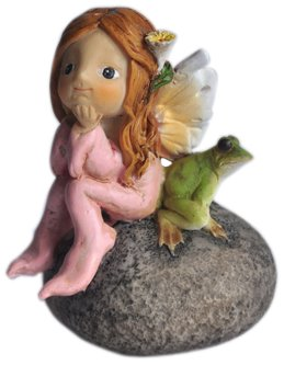 Top Collection Enchanted Story Fairy Garden Little Fairy and Frog on Stone Outdoor (Little Fairies)