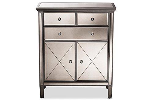 - Baxton Studio Pierce Mirrored Accent Cabinet in Silver