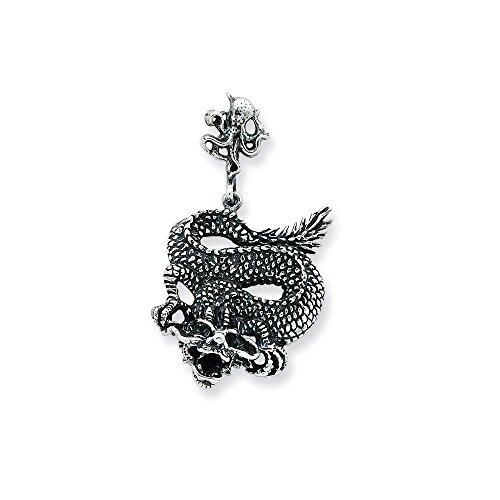 925 Sterling Silver Dragon Pendant Charm Necklace Skull Dagger Fine Jewelry Gifts For Women For Her -