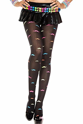 [Rainbow Handlebar Mustache Print Black Pantyhose] (Mustache Costumes Ideas)