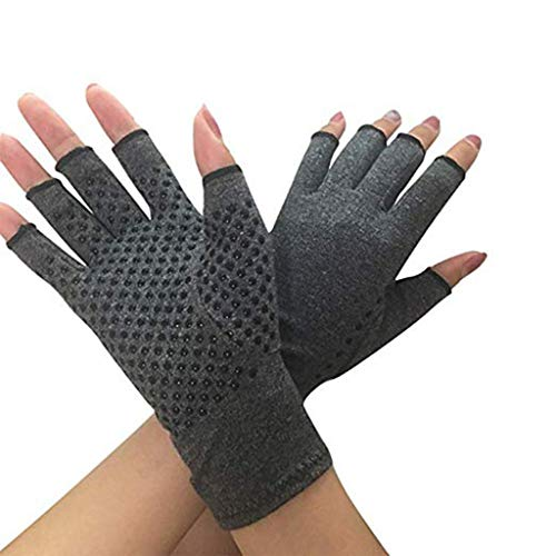 Anti Arthritis Fingerless Gloves, Arthritis Rehabilitation Bumps Training Nursing Grip Gloves Open Finger Keep Hands Warm & Relieves Pain for Men & Women (Gray 1)