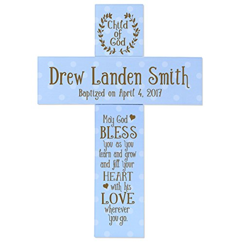 (LifeSong Milestones Personalized Baptism 1st Holy Communion Christening Gifts Custom Wall Cross Child of GOD Decoration May GOD Bless You AS You Learn and Grow Pine Wood Cross (Blue) (Blue))