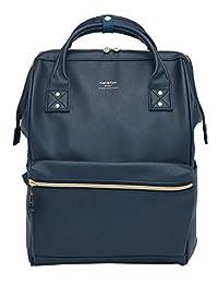 KAH&Kee Leather Travel Notebook Backpack Laptop School Diaper Bag for Women Man (Navy)