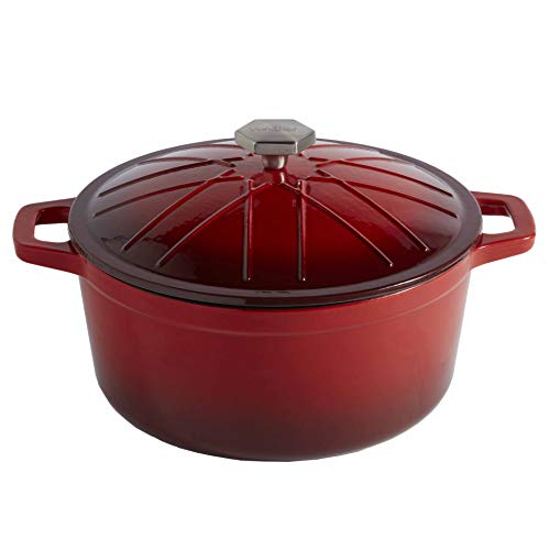 - VonShef Cast Iron Round Dutch Oven Pot Casserole Dish, Naturally Non Stick Stain and Odor Resistant, Enamel Coated Graduated Red, 11 Inches, 6 Quarts