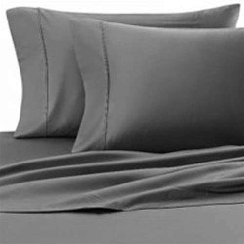 Eastern King Set - Scala Egyptian Cotton 500-Thread-Count Super Soft Extra Deep Pocket Sheet Set King/Eastern King Solid Elephant Gray Fit Up to 19