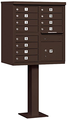 Salsbury Industries 3312BRZ-P Cluster Box Unit with Pedestal and Master Locks, 12 A Size Doors, Type II, (12 Door Aluminum Mailbox)