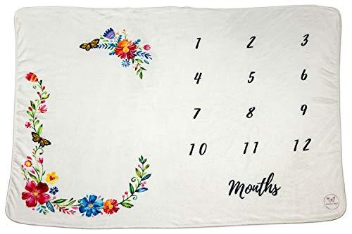 Monarch Babies   Monthly Milestone Blanket - Floral