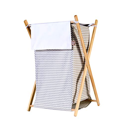 Storage Laundry Basket - Hamper Set with Machine Washable Inner Mesh Liner and Collapsible Pine Wood Frame - Gray by Basket Bins (Image #1)