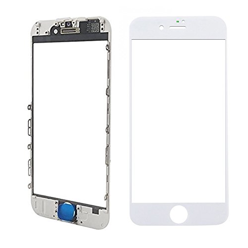 MMOBIEL Front Glass for iPhone 8 Plus (White) Display Touchscreen incl. Pre-installed Bezel Frame + Earpiece Mesh Replacement