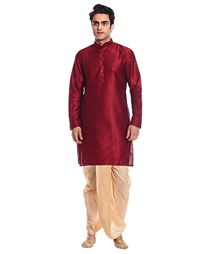 Dhoti Kurta (Mag Men's Red Kurta Gold Dhoti (AMG-1770-40))