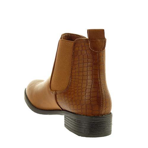 Cavalier A Chelsea Moda Boots Elastico Stampa Angkorly Cammello Blocco Tacco Scarpe Serpente Tessuto Donna Scarponcini Stivaletti Cm 3 Roccia 5 Moderno 5x6wwqWYfI