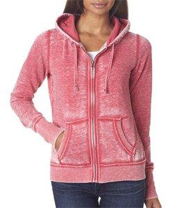 Ladies ZEN Full Zip Hooded Sweatshirt - Wildberry Pink