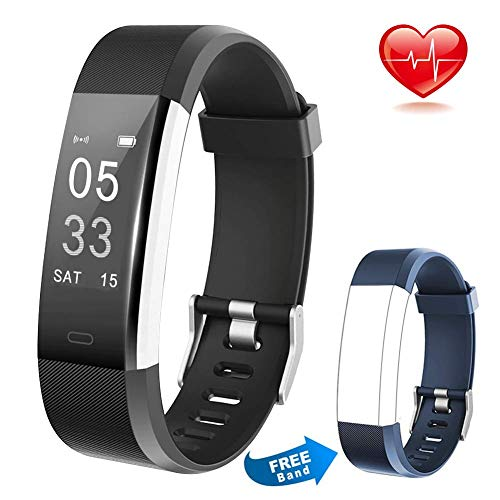 Lintelek Fitness Tracker, Heart Rate Monitor Activity Tracker with Connected GPS Tracker, Step Counter, Sleep Monitor,Waterproof Pedometer for Android and iOS Smartphone (Dark + Replacement Band)