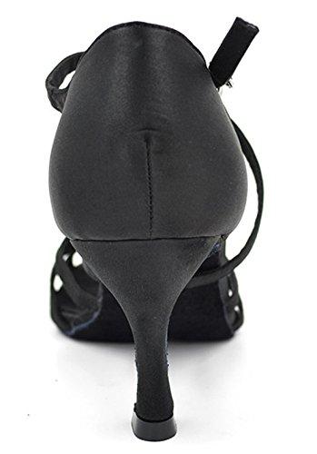 Heel Black Flared Modern Latin Wedding TDA Satin 5cm Tango 7 Sexy Dance Samba Cross Women's Strap Shoes Salsa wTfwp
