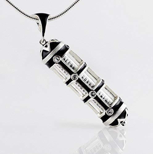 (Mezuzah Necklace Black Pendant The View w Crystals Jewish Jewelry for Men/Women, Hebrew Prayer Shemah Inside, Jewelry Judaica Bar/Bat Mitzvah Jewelry Gift)