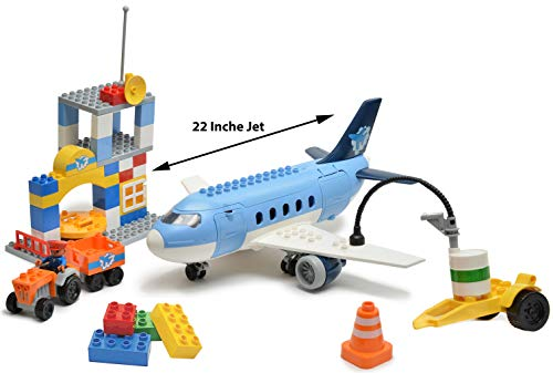 - Kids Toys My First Preschool Airport Passenger Terminal with Airplane Jumbo Jet Building Bricks Set - Compatible with Duplo and All Major Brands - 69 Pcs