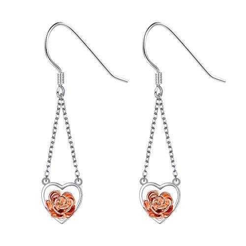 Heart Jewelry Drop Earrings (ALPHM S925 Sterling Silver Rose Flower Drop Dangle Heart Earrings for Women Girl Jewelry)