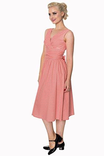 oder Marineblau Kleid Rot Size Retro Vintage Marine Weiss Plus Row Banned Front Oca8W
