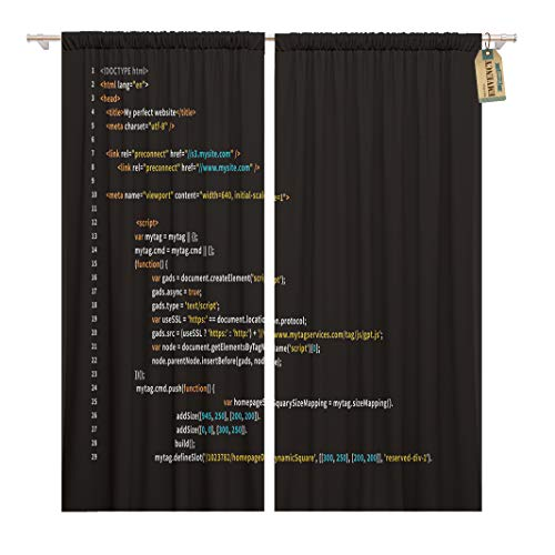 Golee Window Curtain Simple HTML Code Colourful Tags in Browser View Home Decor Rod Pocket Drapes 2 Panels Curtain 104 x 63 inches