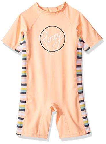 Roxy Toddler Girls' Lets Go Surfing Spring Swimsuit, Salmon Candy Stripes, 3 ()