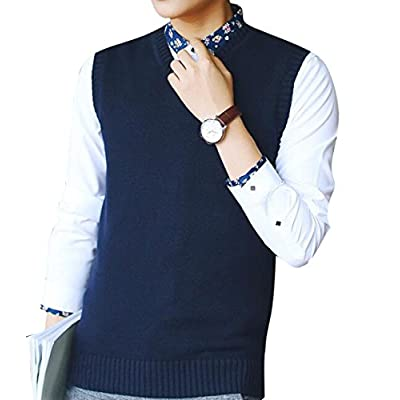 Oberora-Men Classic V-Neck Sleeveless Solid Color Knitted Vest Pullover Sweater free shipping