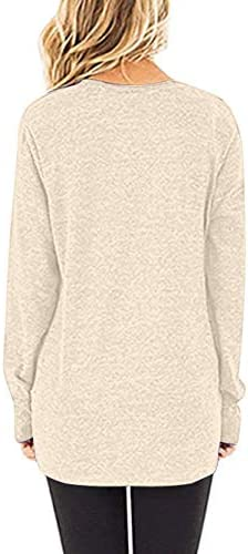 WNEEDU TUNIC TOPS FOR LEGGINGS FOR WOMEN LONG SLEEVE ROUND NECK T SHIRTS FALL CASUAL LOOSE FIT TOPS