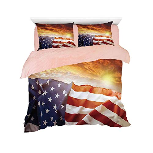 Flannel 4 pieces on the bed Duvet Cover Set 3D printed for bed width 4ft Pattern Customized bedding for girls and young children,American Flag Decor,Flag in front of Sunset Sky with Horizon Light Amer ()