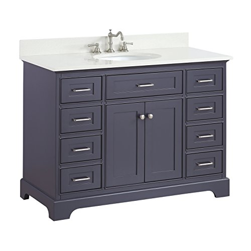 (Aria 48-inch Bathroom Vanity (Quartz/Charcoal Gray): Includes a Charcoal Gray Cabinet with Soft Close Drawers, White Quartz Countertop, and White Ceramic Sink)