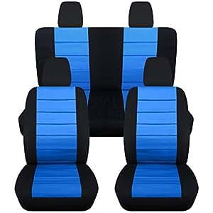 2011 2017 jeep wrangler jk seat covers black light blue full set front rear. Black Bedroom Furniture Sets. Home Design Ideas