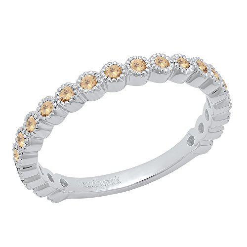 White Gold Round Champagne Diamond Wedding Eternity Band 1/2 CT (Size 8) (14k Natural Champagne Diamond Ring)