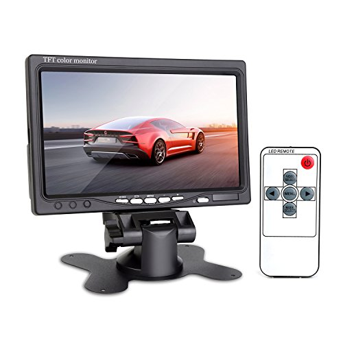 ChiTronic® 7 Inch HD TFT 800*480 Rotating LCD Display Color Monitor - PAL/NTSC 2 AV Input 12~24V for Car Rearview Backup Camera, Drone FPV Camera, DSLR Video Camera, DVD VCR Surveillance System