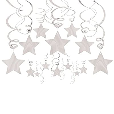 Amscan Stars Hanging Swirls   Silver   Pack of 30   Party Decor: Toys & Games