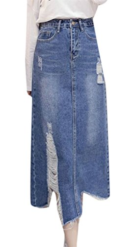 Cruiize Women's Faded Denim Ripped Hole A Line Casual Midi Long Skirt Blue M