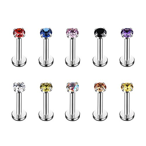 Ruifan 3mm Mix Color CZ Gem Internally Threaded Labret Monroe Lip Ring Tragus Nail Helix Earring Stud Barbell Piercing Jewelry 16G 8mm 10PCS