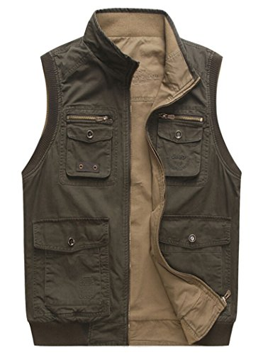 Men's Durable Reversible Outdoor Vests Army Green / Khaki 2XL (Tag)