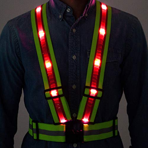 Tuvizo LED Reflective Safety Vest with Storage Bag. High Visibility Night & Day. Lightweight Hi Vis Gear with Lights for Running Cycling Motorcycle Walking Outdoor Sport Activities in Traffic (Vests Lights Safety)