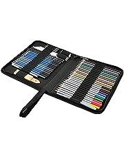 ToneGrip Conjunto de lápis de desenho e esboço, 51 peças, kit profissional de lápis de cor, grafite e haste de carvão, capa com zíper, materiais artísticos para adultos e crianças artistas