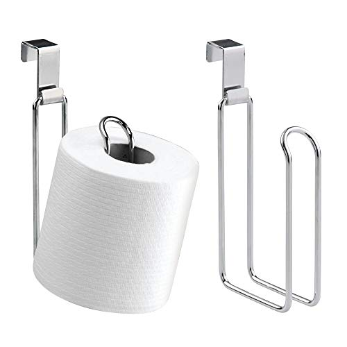 mDesign Metal Over The Tank Toilet Tissue Paper Roll Holder Dispenser and Reserve for Bathroom Storage and Organization - Hanging, Holds 1 Roll - 2 Pack - Chrome