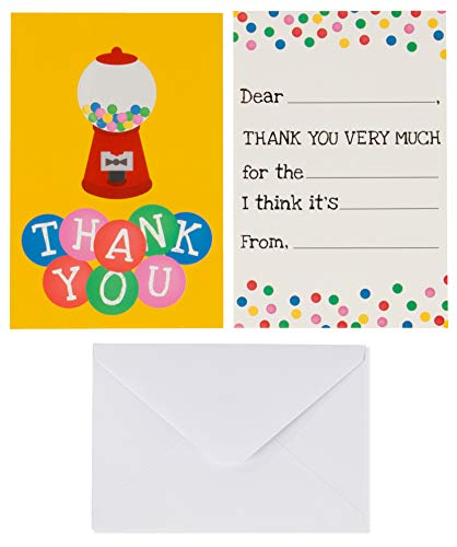 (Kids Thank You Cards - 48-Count Fill in Thank You Notes, Bulk Thank You Cards Set, Vibrant Gumball Machine Design, Includes Thank You Cards and Envelopes, 4 x 6 Inches)