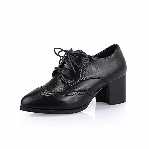 Carol Zapatos Retro Para Mujer De Punta Estrecha Con Cordones De Estilo Británico Medio Tacón Grueso Zapatos Oxfords Negro