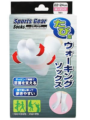 ドキドキかかわらず誤解を招くスポーツギア たび型 ウォーキングソックス 22~24cm 白×ピンク
