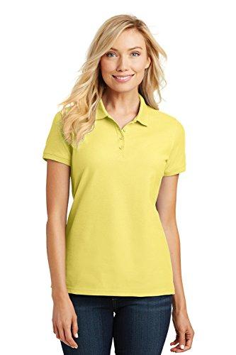 Port Authority Ladies Core Classic Pique Short Sleeved Golf Polo, XX-Large, Lemon Drop Yellow