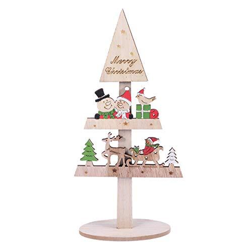 BESTOYARD Small Wooden Tabletop Christmas Tree with Snowman sled Stars Reindeer Santa Bear Rustic Vintage Christmas Decorations Ornaments Xmas Table Centerpiece
