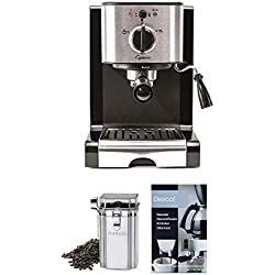 Capresso 116.04 Pump Espresso and Cappuccino Machine EC100, Black and Stainless with Coffee Bean Canister and Descaler (3 Items)